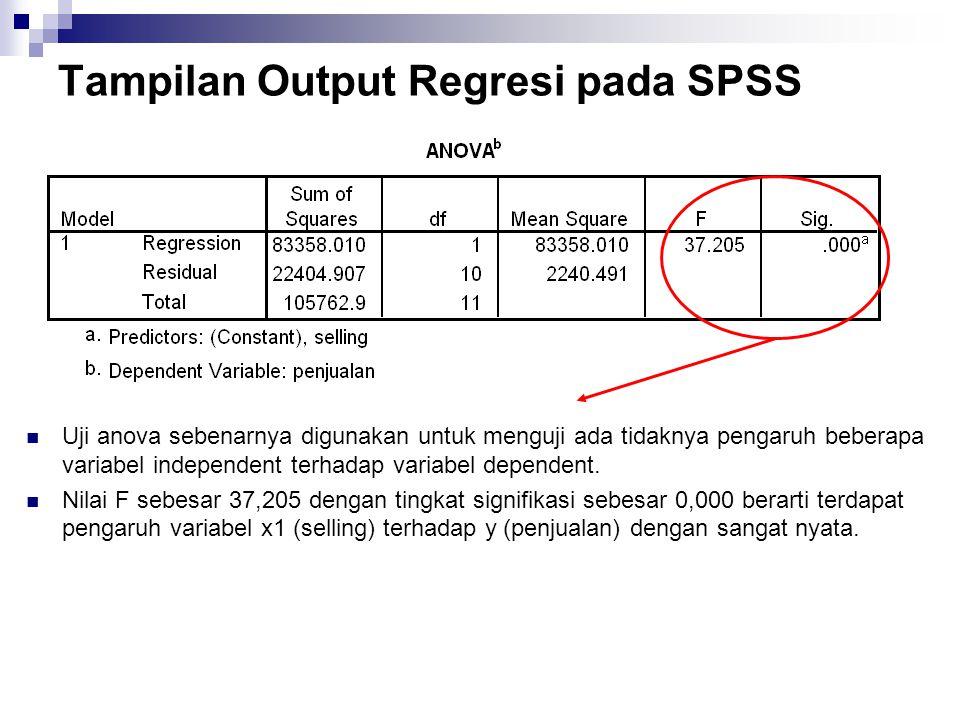 Tampilan Output Regresi pada SPSS Uji anova sebenarnya digunakan untuk menguji ada tidaknya pengaruh beberapa variabel independent terhadap variabel d
