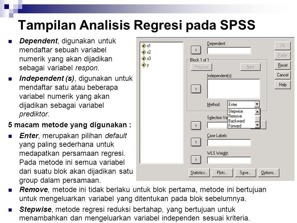Tampilan Analisis Regresi pada SPSS Dependent, digunakan untuk mendaftar sebuah variabel numerik yang akan dijadikan sebagai variabel respon. Independ