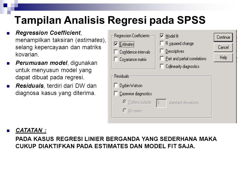 Tampilan Analisis Regresi pada SPSS DEPENDNT, untuk dependent variabel.