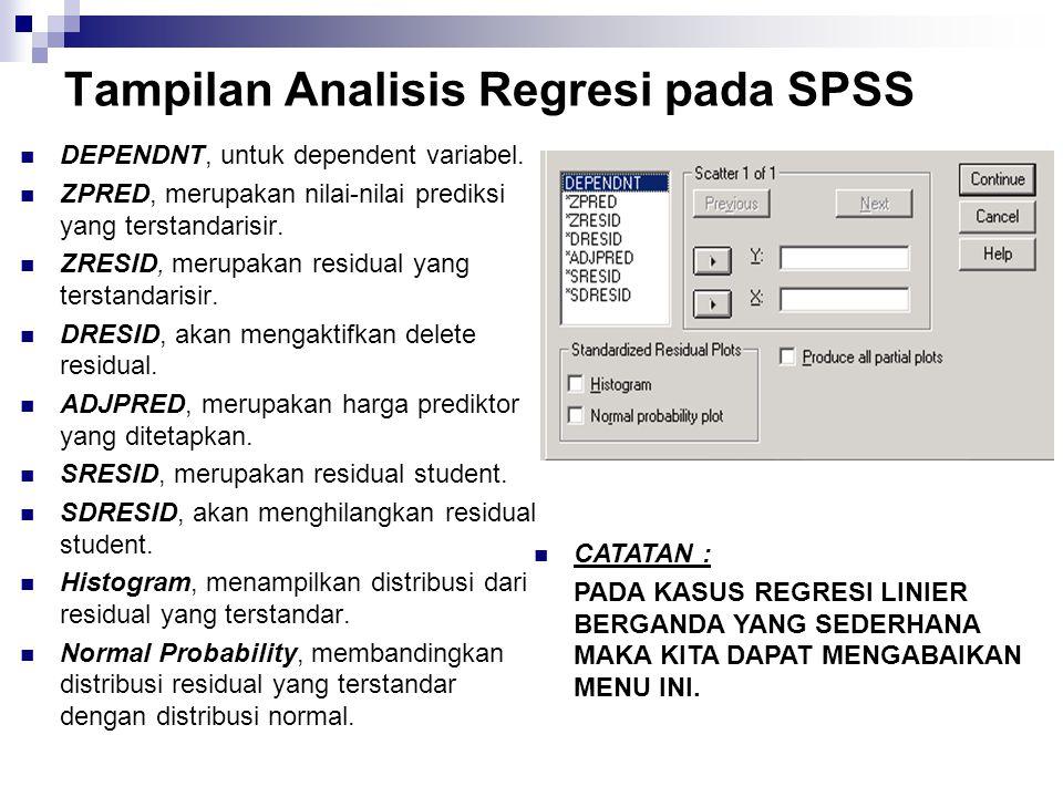 Tampilan Analisis Regresi pada SPSS DEPENDNT, untuk dependent variabel. ZPRED, merupakan nilai-nilai prediksi yang terstandarisir. ZRESID, merupakan r