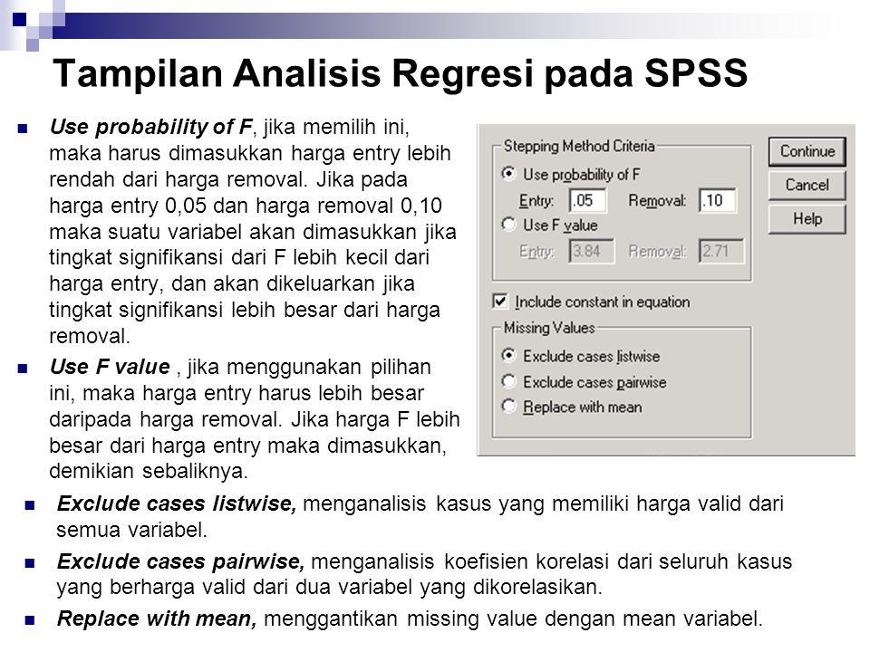 Tampilan Output Regresi pada SPSS Pada tabel deskripsi ini terlihat bahwa terdapat variabel penjualan (Y) dan selling (x1) dengan beberapa keterangan : Rata-rata dari penjualan sebesar 431, 4167 dengan SD 98,05514.