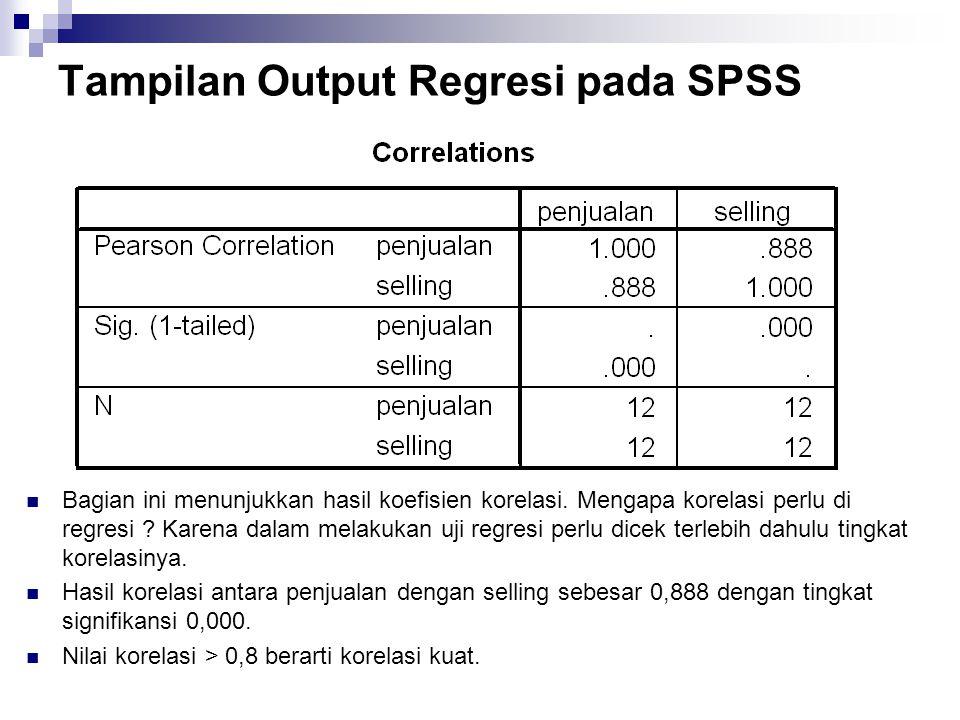 Tampilan Output Regresi pada SPSS Bagian ini menunjukkan hasil koefisien korelasi. Mengapa korelasi perlu di regresi ? Karena dalam melakukan uji regr