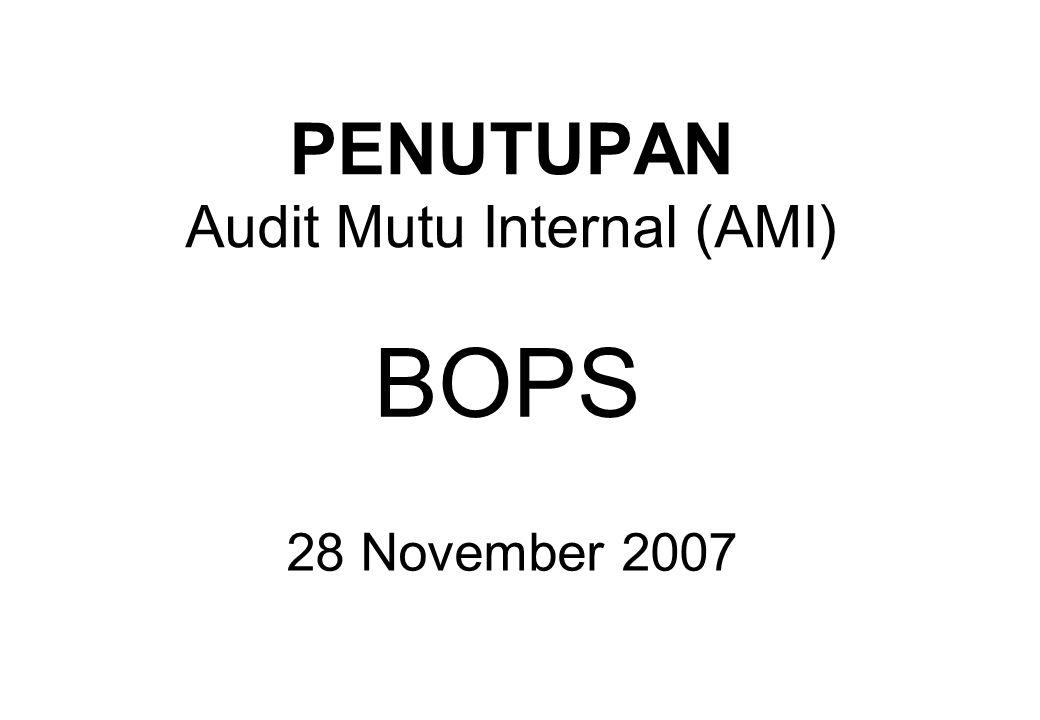 Hasil AMI Total Kriteria: 54 kriteria Kriteria AMI: 10 kriteria (klausul 7) Temuan: 8 kriteria dari 19 temuan Jumlah Ketidaksesuaian: 13 ketidaksesuaian Jumlah Rekomendasi: 6 rekomendasi Skor Ketidaksesuaian : 13/54 x 100 % = 24,07 % Hasil Audit : 31/54 x 100 % = 75,93 %