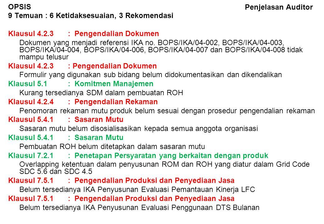 Penjelasan Auditor TRATL 5 Temuan : 4 Ketidaksesuaian, 1 Rekomendasi Klausul 4.2.3: Pengendalian Dokumen Retensi produk belum ditentukan dalam dokumen BOPS/PSM/02-002 Klausul 4.2.3: Pengendalian Dokumen Kode produk untuk BA PPA, PSA, TSA, Analisa & Evaluasi PLTA, Rekap Pembayaran, Rekap Pembebanan belum ditetapkan Klausul 4.2.4: Pengendalian Rekaman Kode bidang pada rekaman mutu belum di-update Klausul 4.2.3: Pengendalian Dokumen Prosedur transaksi tenaga listrik belum lengkap Klausul 7.5.1: Pengendalian Produksi dan Penyediaan Jasa IKA Setelmen Transaksi Tenaga Listrik (BOPS/IKA/05-001) kurang spesifik, sebaiknya dbuatkan masing-masing utk PPA, PSA dan TSA
