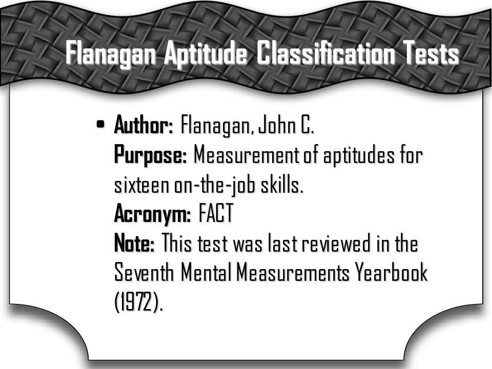 Flanagan Aptitude Classification Tests Author: Flanagan, John C.