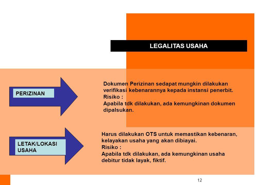 12 PERIZINAN LETAK/LOKASI USAHA LEGALITAS USAHA Dokumen Perizinan sedapat mungkin dilakukan verifikasi kebenarannya kepada instansi penerbit.