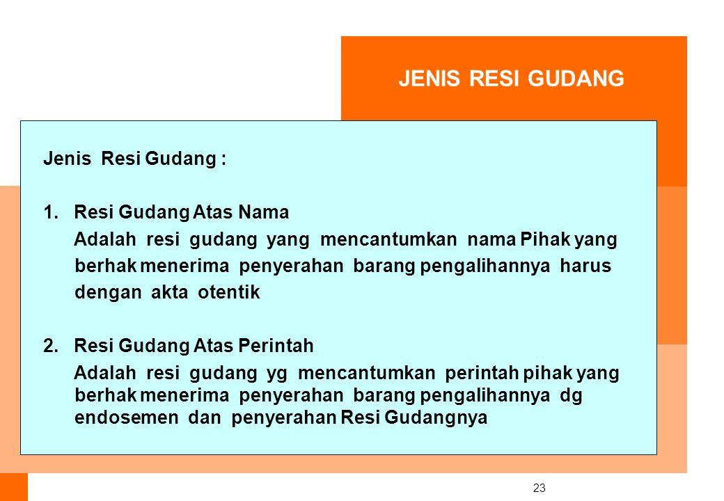 23 JENIS RESI GUDANG Jenis Resi Gudang : 1.