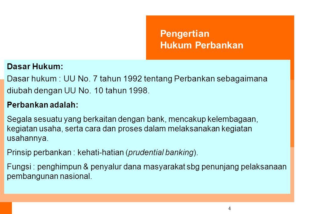 4 Dasar Hukum: Dasar hukum : UU No.7 tahun 1992 tentang Perbankan sebagaimana diubah dengan UU No.