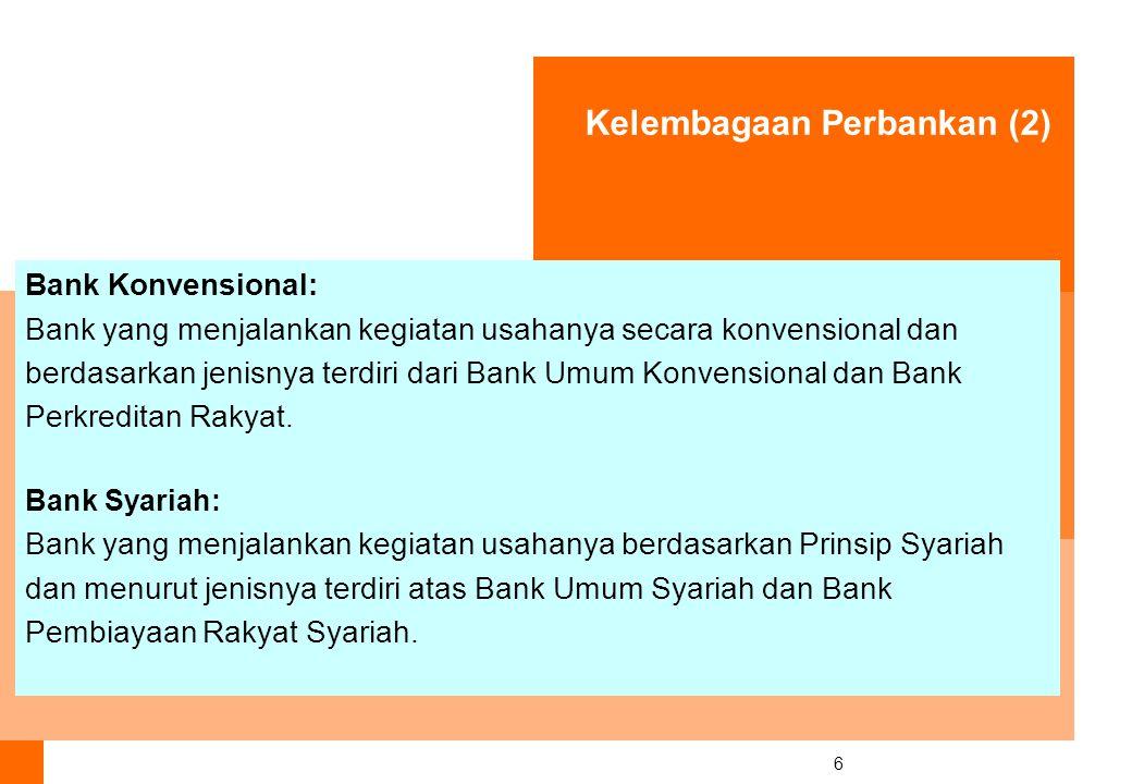 6 Bank Konvensional: Bank yang menjalankan kegiatan usahanya secara konvensional dan berdasarkan jenisnya terdiri dari Bank Umum Konvensional dan Bank Perkreditan Rakyat.