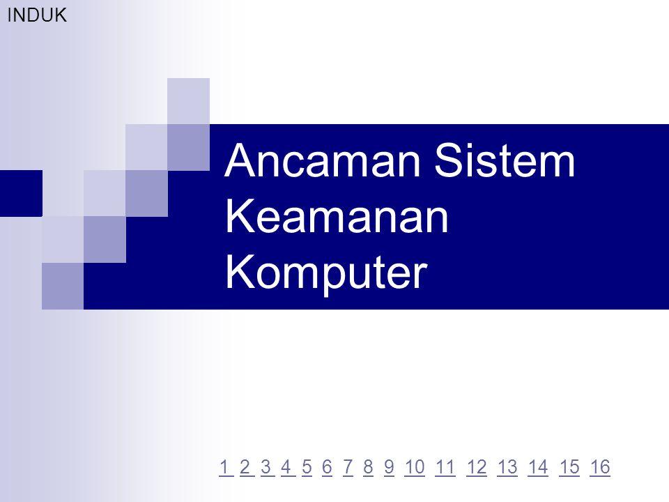 Ancaman Sistem Keamanan Komputer 1 1 2 3 4 5 6 7 8 9 10 11 12 13 14 15 162 3 4 5678910111213141516 INDUK