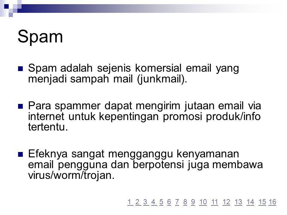 Spam Spam adalah sejenis komersial email yang menjadi sampah mail (junkmail).