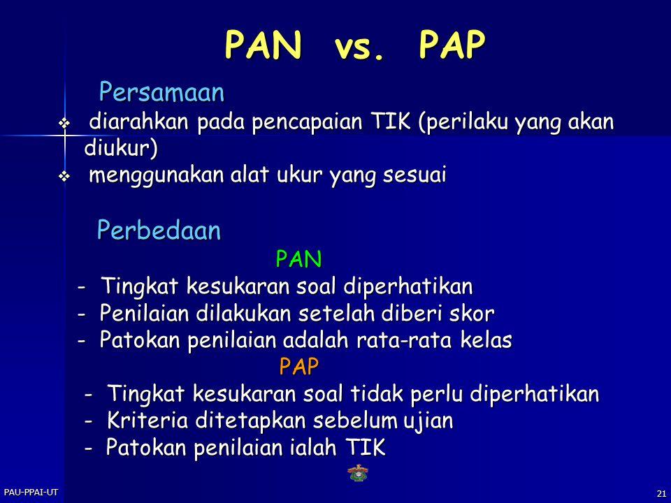 PAU-PPAI-UT20 Penilaian PAN-PAP  PENILAIAN ACUAN NORMA (PAN) Tes Acuan Norma (Norm-Referenced Evaluation) digunakan untuk menentukan kedudukan seseor