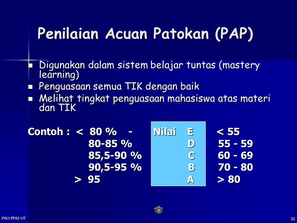 PAU-PPAI-UT 31 Penilaian Acuan Patokan (PAP) MANFAAT : Penempatan diri, mis.posisi di kelas Penempatan diri, mis.posisi di kelas Mendiagnosa kemampuan