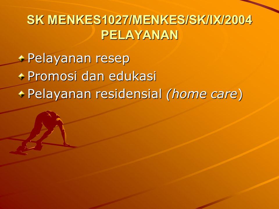 SK MENKES1027/MENKES/SK/IX/2004 PELAYANAN Pelayanan resep Promosi dan edukasi Pelayanan residensial (home care)