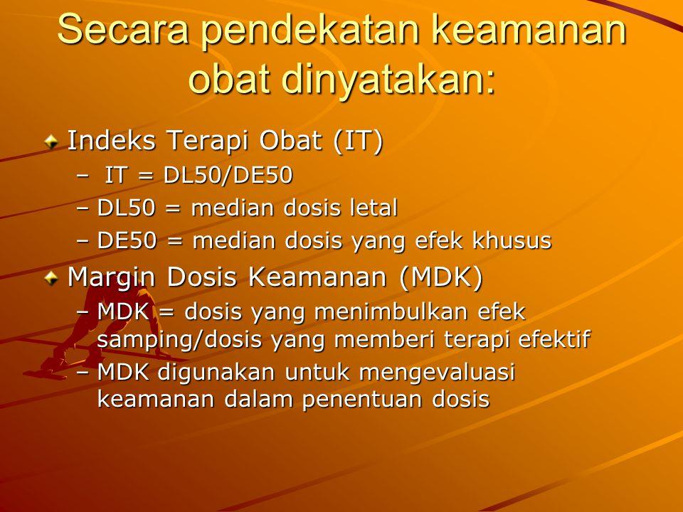 Secara pendekatan keamanan obat dinyatakan: Indeks Terapi Obat (IT) – IT = DL50/DE50 –DL50 = median dosis letal –DE50 = median dosis yang efek khusus
