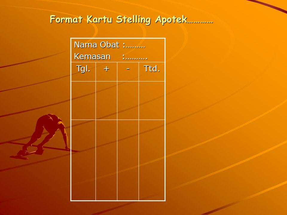 Format Kartu Stelling Apotek………… Nama Obat :……… Kemasan :………. Tgl.+-Ttd.