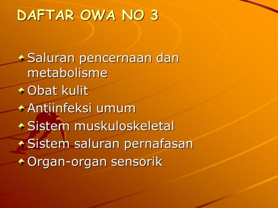 DAFTAR OWA NO 3 Saluran pencernaan dan metabolisme Obat kulit Antiinfeksi umum Sistem muskuloskeletal Sistem saluran pernafasan Organ-organ sensorik