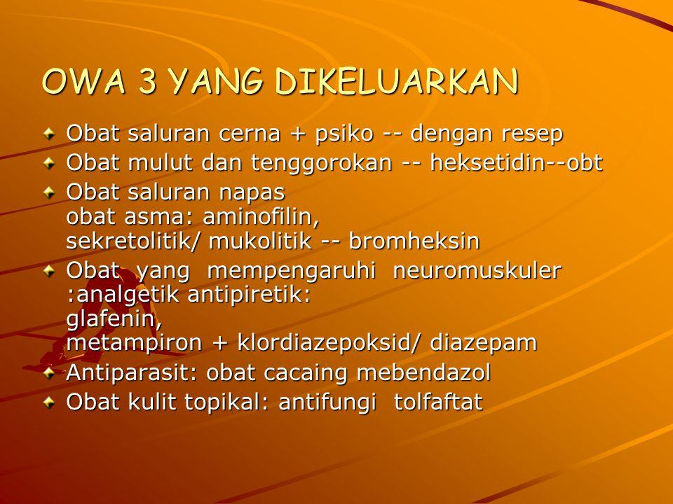OWA 3 YANG DIKELUARKAN Obat saluran cerna + psiko -- dengan resep Obat mulut dan tenggorokan -- heksetidin--obt Obat saluran napas obat asma: aminofilin, sekretolitik/ mukolitik -- bromheksin Obat yang mempengaruhi neuromuskuler :analgetik antipiretik: glafenin, metampiron + klordiazepoksid/ diazepam Antiparasit: obat cacaing mebendazol Obat kulit topikal: antifungi tolfaftat