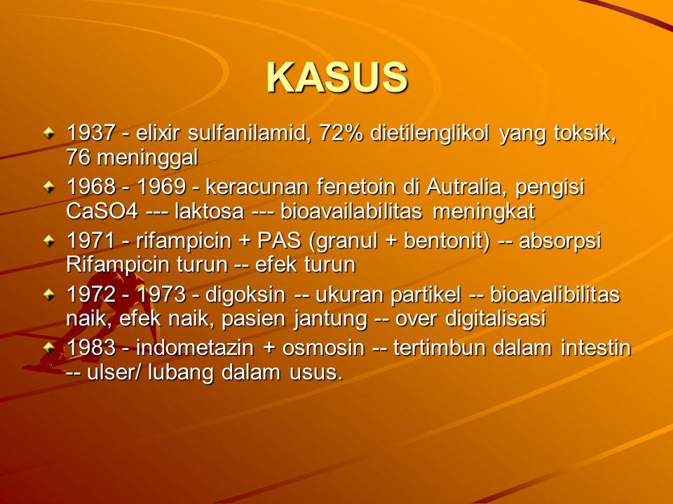 KASUS 1937 - elixir sulfanilamid, 72% dietilenglikol yang toksik, 76 meninggal 1968 - 1969 - keracunan fenetoin di Autralia, pengisi CaSO4 --- laktosa
