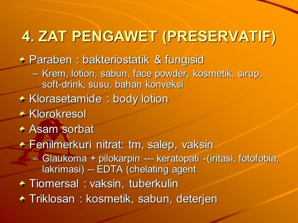 4. ZAT PENGAWET (PRESERVATIF) Paraben : bakteriostatik & fungisid –Krem, lotion, sabun, face powder, kosmetik, sirup, soft-drink, susu, bahan konveksi