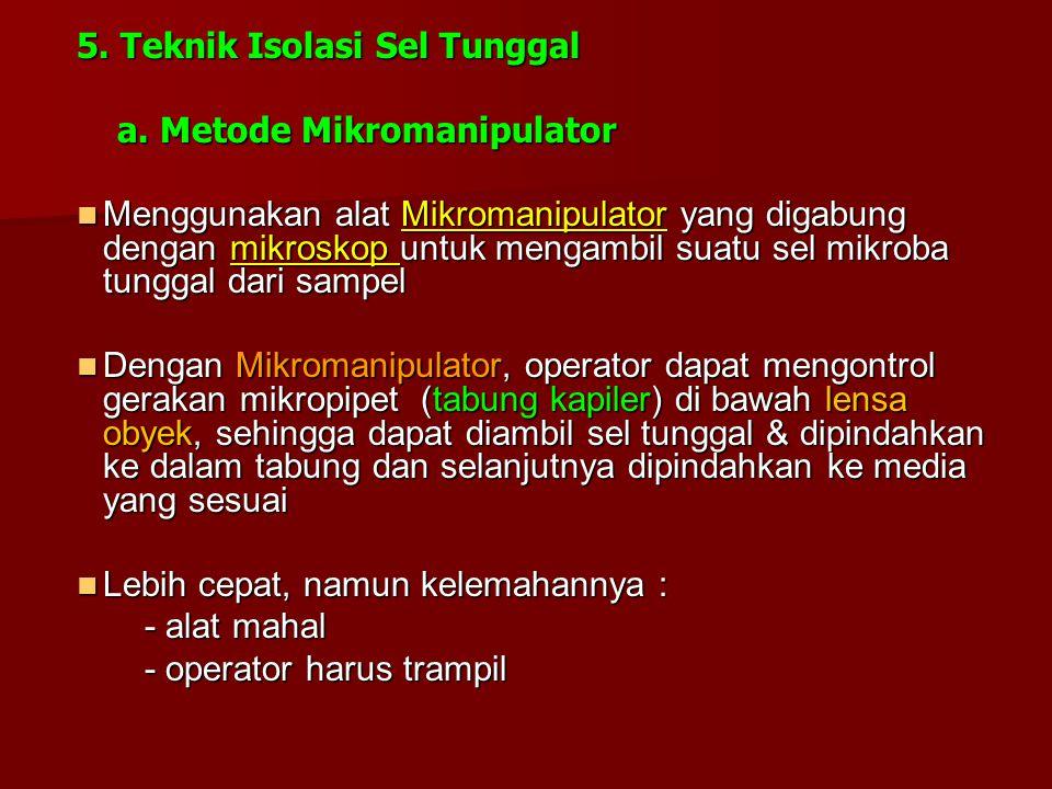 5. Teknik Isolasi Sel Tunggal a. Metode Mikromanipulator a. Metode Mikromanipulator Menggunakan alat Mikromanipulator yang digabung dengan mikroskop u