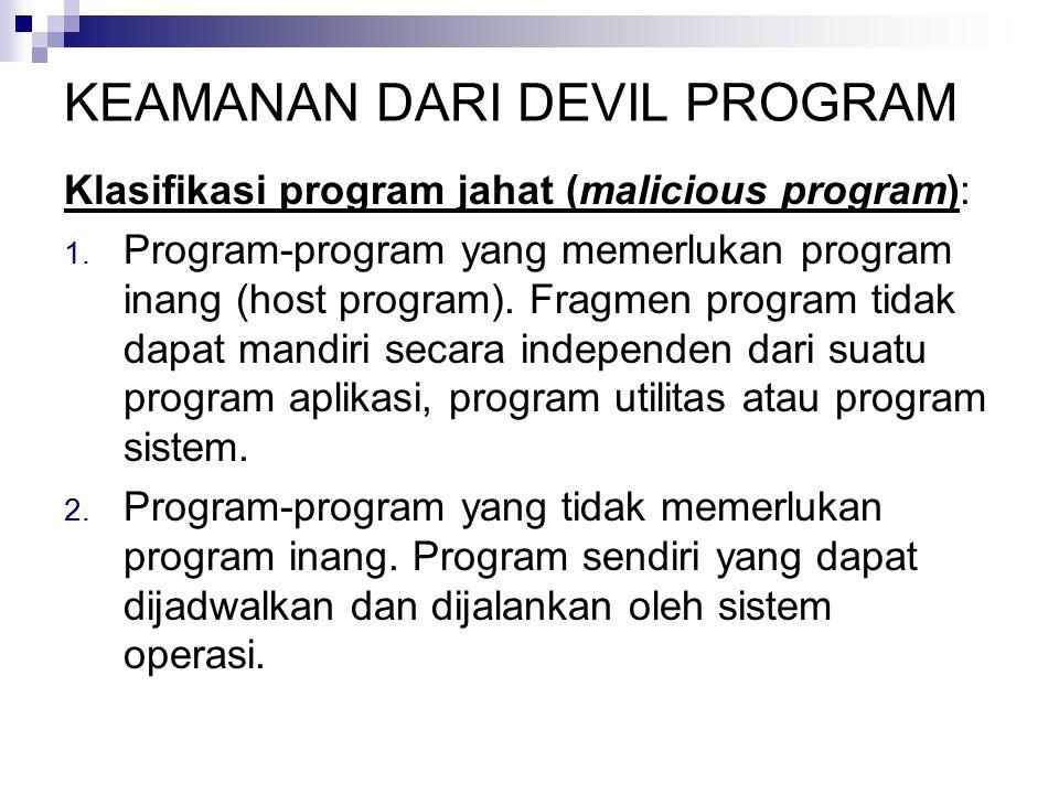 KEAMANAN DARI DEVIL PROGRAM Klasifikasi program jahat (malicious program): 1. Program-program yang memerlukan program inang (host program). Fragmen pr