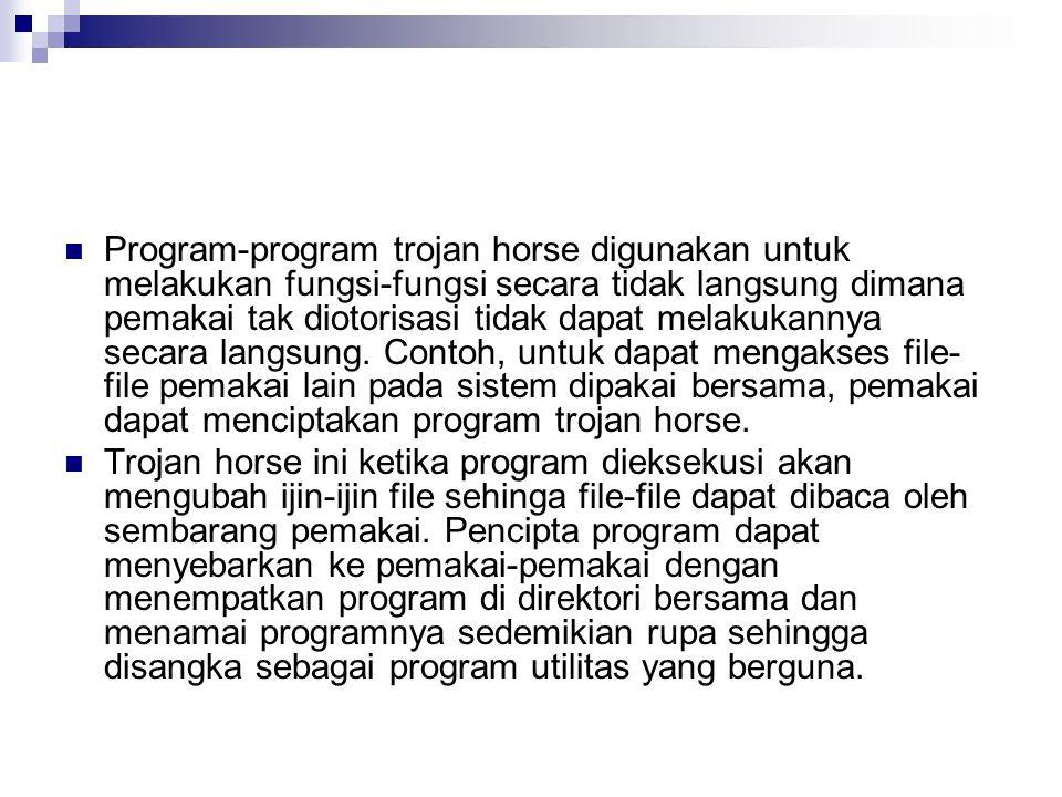 Program-program trojan horse digunakan untuk melakukan fungsi-fungsi secara tidak langsung dimana pemakai tak diotorisasi tidak dapat melakukannya sec
