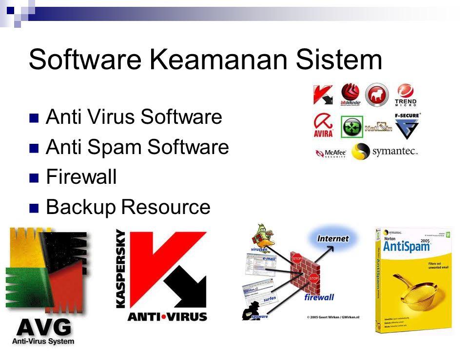 Software Keamanan Sistem Anti Virus Software Anti Spam Software Firewall Backup Resource