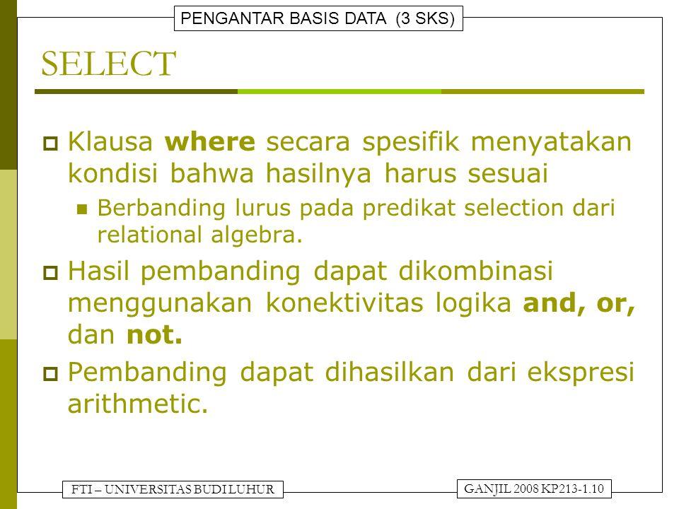 FTI – UNIVERSITAS BUDI LUHUR PENGANTAR BASIS DATA (3 SKS) GANJIL 2008 KP213-1.10 SELECT  Klausa where secara spesifik menyatakan kondisi bahwa hasilnya harus sesuai Berbanding lurus pada predikat selection dari relational algebra.
