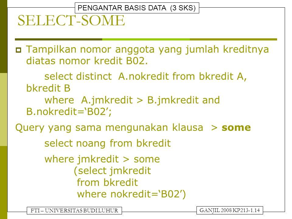 FTI – UNIVERSITAS BUDI LUHUR PENGANTAR BASIS DATA (3 SKS) GANJIL 2008 KP213-1.14 SELECT-SOME  Tampilkan nomor anggota yang jumlah kreditnya diatas nomor kredit B02.