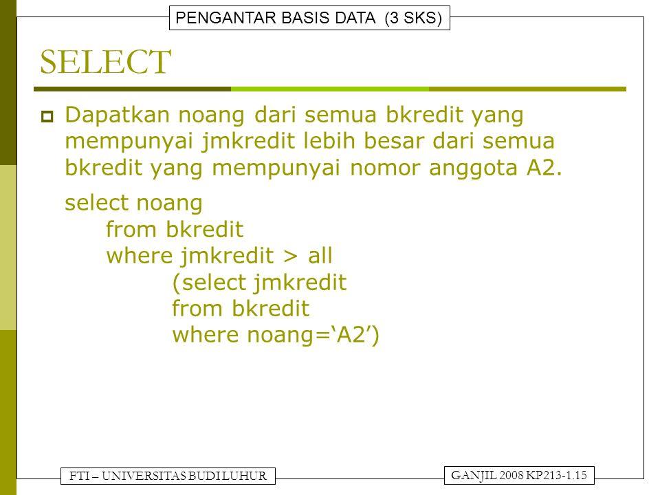 FTI – UNIVERSITAS BUDI LUHUR PENGANTAR BASIS DATA (3 SKS) GANJIL 2008 KP213-1.15 SELECT  Dapatkan noang dari semua bkredit yang mempunyai jmkredit lebih besar dari semua bkredit yang mempunyai nomor anggota A2.