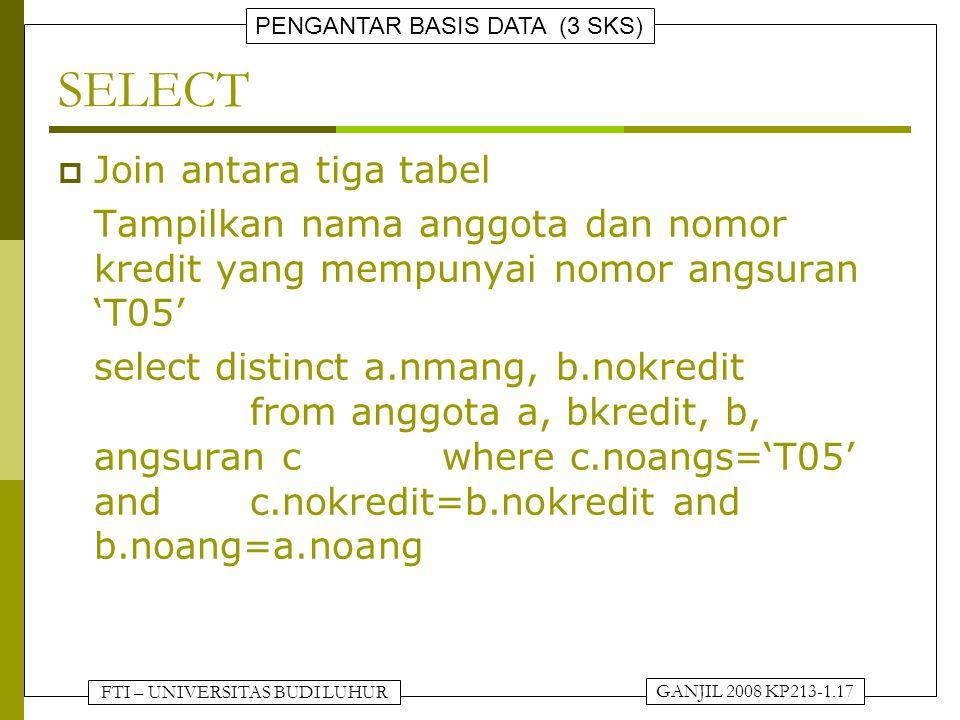 FTI – UNIVERSITAS BUDI LUHUR PENGANTAR BASIS DATA (3 SKS) GANJIL 2008 KP213-1.17 SELECT  Join antara tiga tabel Tampilkan nama anggota dan nomor kredit yang mempunyai nomor angsuran 'T05' select distinct a.nmang, b.nokredit from anggota a, bkredit, b, angsuran cwhere c.noangs='T05' and c.nokredit=b.nokredit and b.noang=a.noang