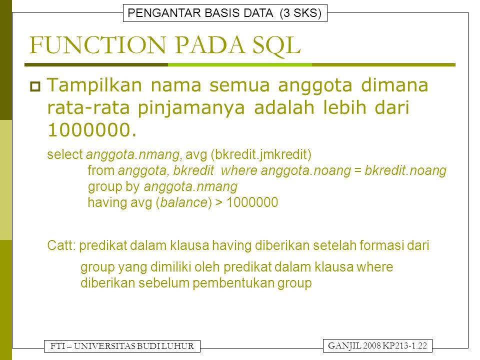 FTI – UNIVERSITAS BUDI LUHUR PENGANTAR BASIS DATA (3 SKS) GANJIL 2008 KP213-1.22 FUNCTION PADA SQL  Tampilkan nama semua anggota dimana rata-rata pinjamanya adalah lebih dari 1000000.