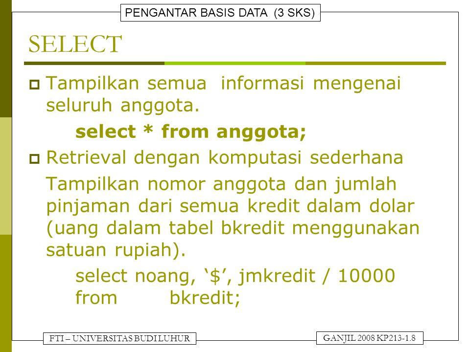 FTI – UNIVERSITAS BUDI LUHUR PENGANTAR BASIS DATA (3 SKS) GANJIL 2008 KP213-1.8 SELECT  Tampilkan semua informasi mengenai seluruh anggota.