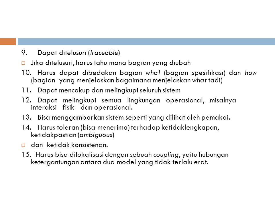 9. Dapat ditelusuri (traceable)  Jika ditelusuri, harus tahu mana bagian yang diubah 10. Harus dapat dibedakan bagian what (bagian spesifikasi) dan h