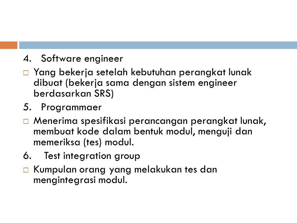 4. Software engineer  Yang bekerja setelah kebutuhan perangkat lunak dibuat (bekerja sama dengan sistem engineer berdasarkan SRS) 5. Programmaer  Me