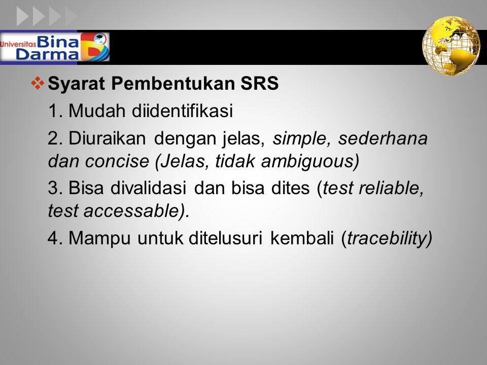 LOGO  Syarat Pembentukan SRS 1.Mudah diidentifikasi 2.