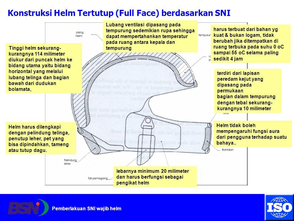 Pemberlakuan SNI wajib helm Konstruksi Helm Tertutup (Full Face) berdasarkan SNI harus terbuat dari bahan yg kuat & bukan logam, tidak berubah jika di