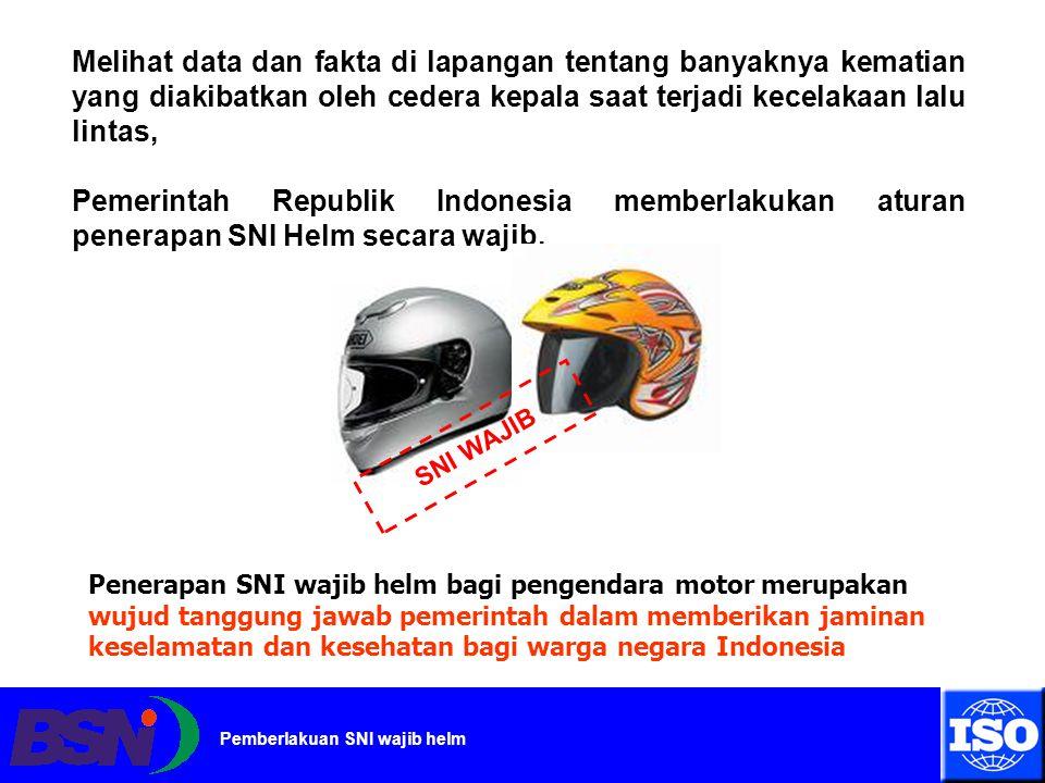 www.bsn.go.id Pemberlakuan SNI wajib helm Melihat data dan fakta di lapangan tentang banyaknya kematian yang diakibatkan oleh cedera kepala saat terja