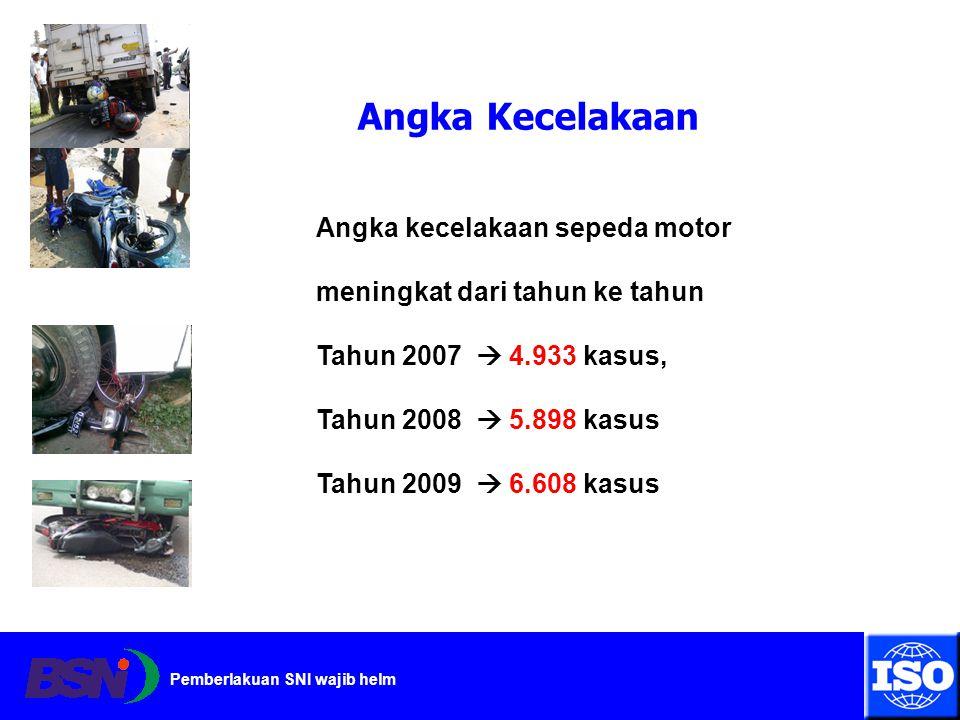 Pemberlakuan SNI wajib helm Angka kecelakaan sepeda motor meningkat dari tahun ke tahun Tahun 2007  4.933 kasus, Tahun 2008  5.898 kasus Tahun 2009