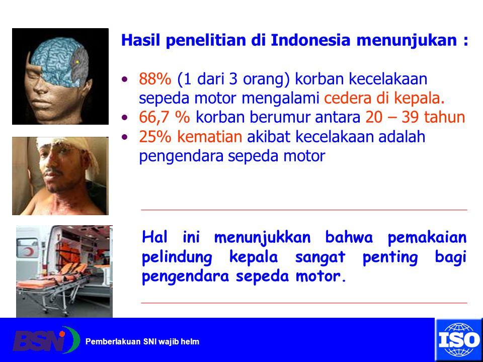 Pemberlakuan SNI wajib helm Hasil penelitian di Indonesia menunjukan : 88% (1 dari 3 orang) korban kecelakaan sepeda motor mengalami cedera di kepala.