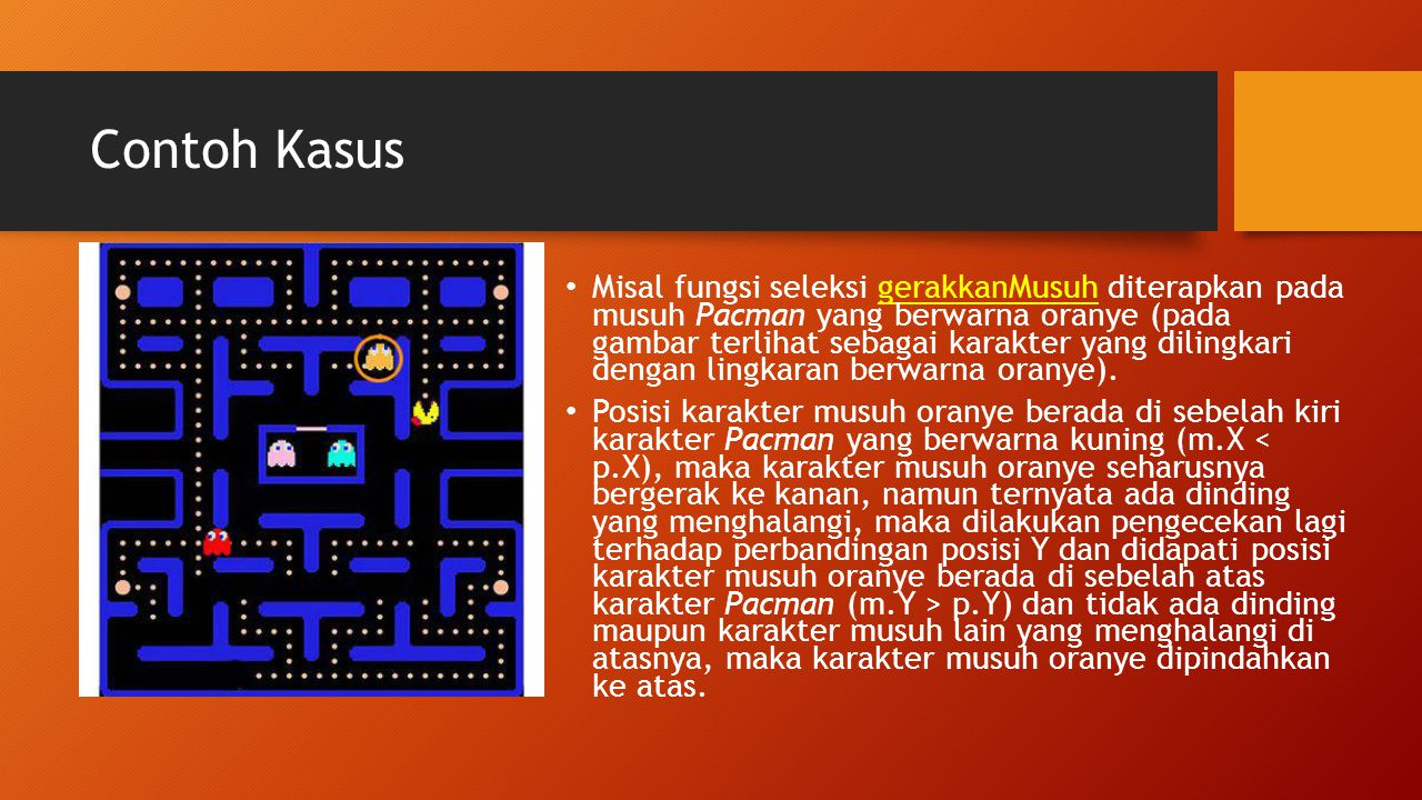 Contoh Kasus Misal fungsi seleksi gerakkanMusuh diterapkan pada musuh Pacman yang berwarna oranye (pada gambar terlihat sebagai karakter yang dilingka