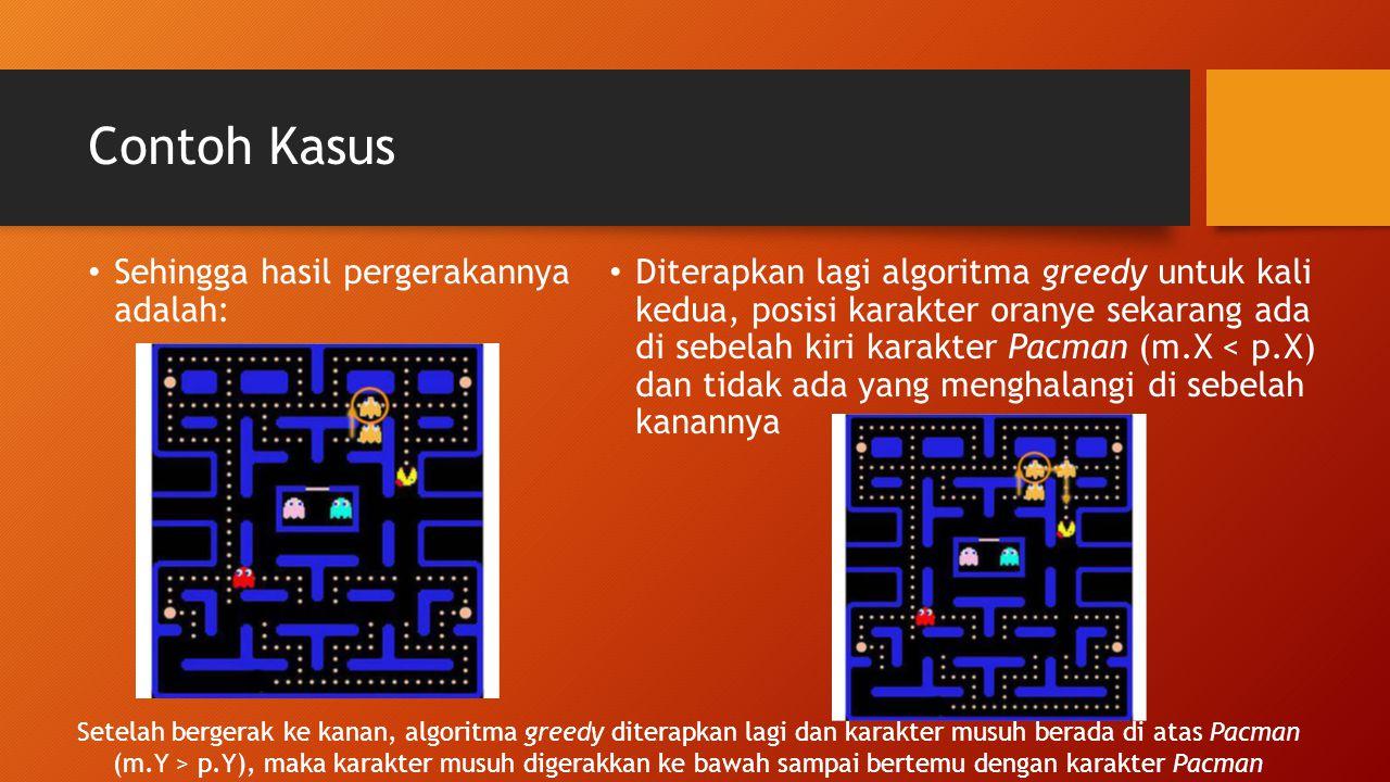 Contoh Kasus Sehingga hasil pergerakannya adalah: Diterapkan lagi algoritma greedy untuk kali kedua, posisi karakter oranye sekarang ada di sebelah ki