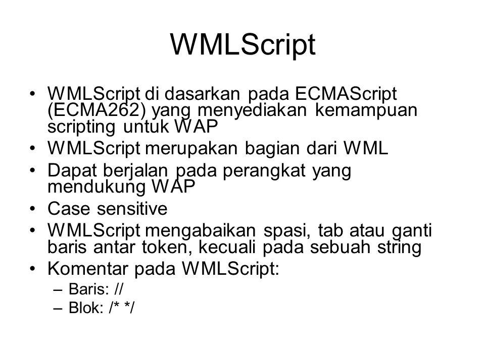 WMLScript WMLScript di dasarkan pada ECMAScript (ECMA262) yang menyediakan kemampuan scripting untuk WAP WMLScript merupakan bagian dari WML Dapat ber