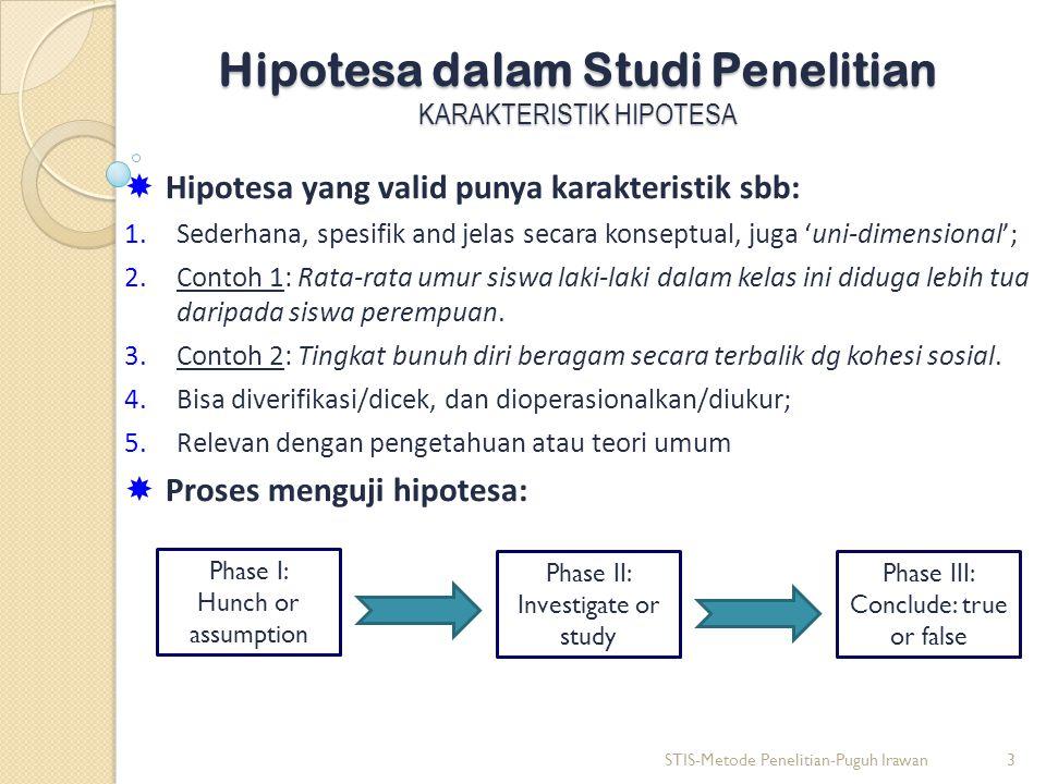 Hipotesa dalam Studi Penelitian KARAKTERISTIK HIPOTESA  Hipotesa yang valid punya karakteristik sbb: 1.Sederhana, spesifik and jelas secara konseptual, juga 'uni-dimensional'; 2.Contoh 1: Rata-rata umur siswa laki-laki dalam kelas ini diduga lebih tua daripada siswa perempuan.