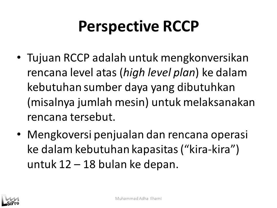 Perspective RCCP Tujuan RCCP adalah untuk mengkonversikan rencana level atas (high level plan) ke dalam kebutuhan sumber daya yang dibutuhkan (misalny