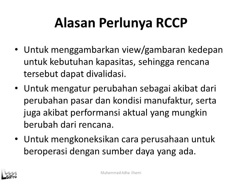 Alasan Perlunya RCCP Untuk menggambarkan view/gambaran kedepan untuk kebutuhan kapasitas, sehingga rencana tersebut dapat divalidasi. Untuk mengatur p