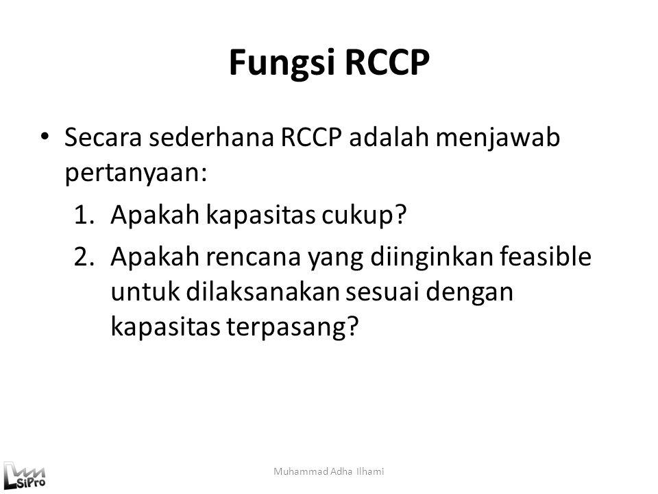 Fungsi RCCP Secara sederhana RCCP adalah menjawab pertanyaan: 1.Apakah kapasitas cukup? 2.Apakah rencana yang diinginkan feasible untuk dilaksanakan s
