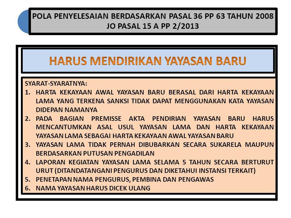 POLA PENYELESAIAN BERDASARKAN PASAL 36 PP 63 TAHUN 2008 JO PASAL 15 A PP 2/2013 SYARAT-SYARATNYA: 1.HARTA KEKAYAAN AWAL YAYASAN BARU BERASAL DARI HART