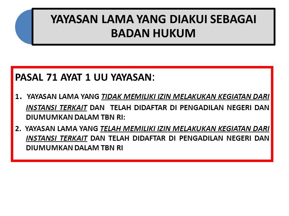 YAYASAN LAMA YANG DIAKUI SEBAGAI BADAN HUKUM PASAL 71 AYAT 1 UU YAYASAN : 1. YAYASAN LAMA YANG TIDAK MEMILIKI IZIN MELAKUKAN KEGIATAN DARI INSTANSI TE